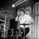 Cover Ringo Starr with his Ludwig drum kit, rehearsing with The Beatles for The Ed Sullivan Show, 1964. CBS /Landov