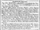 Cover Advertisement from 'The Times' (16 May 1791) concerning Haydn's benefit concert, to be given on that day
