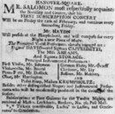 Cover Advertisement in 'The Times' (26 January 1791) for Salomon's concert series at the Hanover Square Rooms, commencing 11 February; after various delays the series, in which Haydn made his first London appearances, opened 11 March