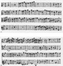 (a) Coloration used throughout a section in triple time, the notes with stems ('crotchets') being equivalent in value to minim rests (see line 2, bar 3) (Frescobaldi, 'Il primo libro di capricci'; Venice: Alessandro Vincenti, 1626) (b) Coloration used throughout a section in triple time, the notes with stems ('crotchets') being equivalent in value to semiminim rests (see system 2, bar 1) (G.B. Fontana, 'Sonate a 1.2.3.'; Venice: Bartolomeo Magni, 1641)