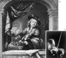 (a) French violinist using the typical 17th-century breast position and thumb-under-hair grip: lithograph after a painting (1665) by Gerrit Dou; (b) Jascha Heifetz playing in a high position