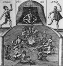 Amerindians with container rattles: engraving from Captain John Smith's 'Historie of Virginia' (1624)